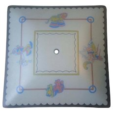 Vintage Circus Theme Square Glass Nursery Childs Bedroom Ceiling Light Fixture Shade Pastels