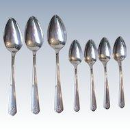 1930 Oneida Heirloom Chevron Art Deco Silverplate Flatware 3 Serving Spoons 4 Teaspoons