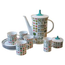 Rosenthal China Emilio Pucci Piemonte Demitasse Coffee Service for 4 Germany