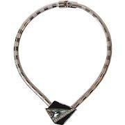 Vintage Trifari Kunio Matsumoto Signed Black Enamel Clear Rhinestone Necklace