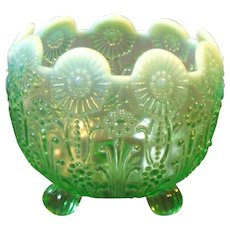 Northwood Pearl Flowers Green Opalescent Glass Footed Rose Bowl