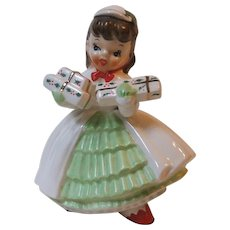Vintage 1956 Napco Brunette Christmas Girl Planter AX1690PC White Coat National Potteries Co - Red Tag Sale Item