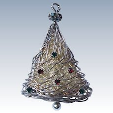 Vintage Spun Silver Wrapped Wire Christmas Tree Pin Brooch with Red and Green Rhinestones