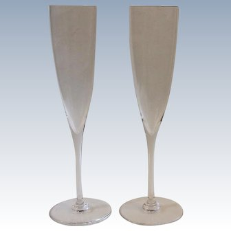 Pair Baccarat Dom Perignon Crystal Champagne Flute Glasses