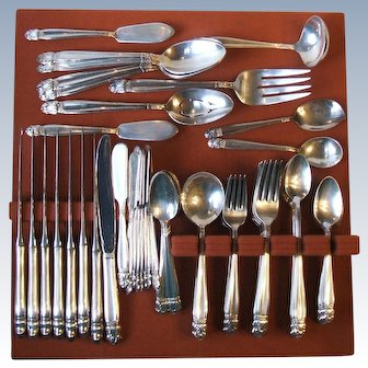 Holmes and Edwards 1938 Danish Princess Silverplate 77 Pc Set Service 8 Plus
