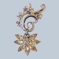 Corocraft Brooch Clear Rhinestone Dangle Starburst Flower Silver Tone