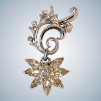 Corocraft Brooch Clear Rhinestone Dangle Starburst Flower Silver Tone