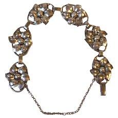 Vintage Lang Sterling Silver Flower Link Bracelet