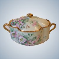 Haviland Limoges France Hand Painted Wild Rose Covered Vegetable Dish Signed