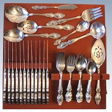 68 Pcs Rogers Oneida Baroque Rose Silverplate Flatware Service for 12 Plus Serving 1967