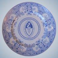 Vintage Arabia of Finland Dukes County Martha's Vineyard Mass Blue Transfer Plate