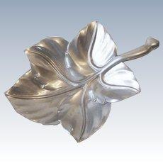 Vintage Bruce Fox Aluminum Figural Leaf Serving Bowl Dish Platter Royal Hickman