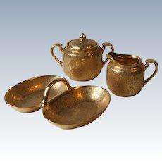 Wheeling Decorating Co China Gold 1720 Creamer Sugar Bowl 5173 Two Part Relish Dish Birds Floral