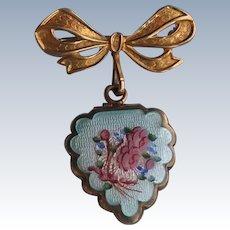 Gold Filled LaMode Guilloche Enamel Heart Locket Charm on Bow Brooch