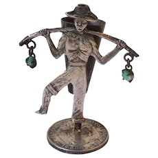 Vintage 900 Silver Raw Emerald Man Miner Toothpick Holder 1914 Colombia Coin