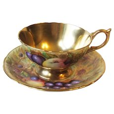 Aynsley C746 Fruit Orchard Gold Gilt Footed Cup and Saucer