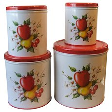 Set 4 Vintage Decoware Metal Nesting Canisters Fruit Farmhouse Cottage Chic