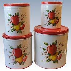 Set 4 Vintage Decoware Metal Nesting Canisters Fruit Farmhouse Cottage Chic