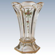 Heisey Glass 391 Wide Flat Panel 8 Inch Vase Hand Painted Roses Gold Trim
