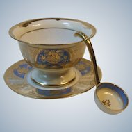 Noritake 3 Piece Whipped Cream Mayonnaise Condiment Set Blue and Gold Floral