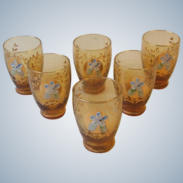 c50ad22a40c6 Set 6 Vintage Amber Glass Cordial Glasses Gold Design with Applied :  Missing Memories | Ruby Lane