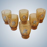 Set 6 Vintage Amber Glass Cordial Glasses Gold Design with Applied Flower