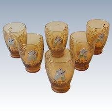 Set 6 Vintage Amber Glass Cordial Glasses Gold Design with Applied Flower