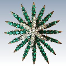 Vintage Crown Trifari Alfred Philippe Emerald Diamante Fireworks Starflight Brooch Pin