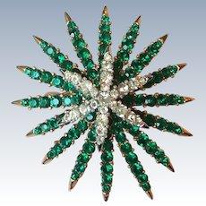 Vintage Crown Trifari Alfred Philippe Emerald Diamante Fireworks Starflight Brooch Pin