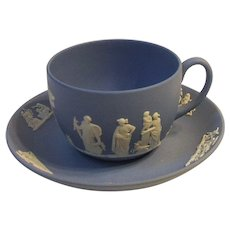 1961 Wedgwood England Blue Jasperware Cup and Saucer Set