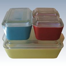 Vintage Pyrex Primary Colors 8 Piece Refrigerator Dish Set Pre-1950