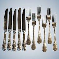 Guy Degrenne France Villandry Marquise Stainless 5 Dinner Knives 6 Dinner Forks