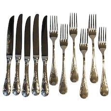Guy Degrenne France Villandry Stainless 5 Dinner Knives 6 Dinner Forks
