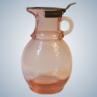 Vintage Hazel Atlas Pink Depression Glass Syrup Pitcher 10-K-803 with Tin Lid