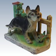 Vintage Lefton Porcelain German Shepherd Dog with Fence Background Figurine