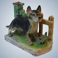 Vintage Lefton Porcelain German Shepherd Dog with Fence Background Figurine