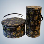 2 Vintage Tins Sewing and Yarn Minder Holder Black with Pansy Posy Floral