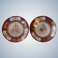 Pair Victoria Carlsbad Austria Larsen Doecker Porcelain Cabinet Plates Wall Plaques