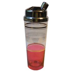 Vintage Cocktail Shaker with Chrome Lid Pink Flashed Glass Gold Bands