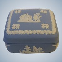Wedgwood England China Blue Jasperware Square Trinket Box