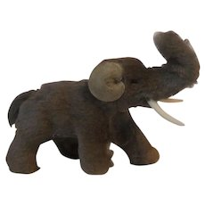 Original Fur Animals Toys Miniature Gray Elephant W. Germany