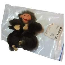 Vintage Original Fur Animals Toys Miniature Chimpanzee Chimp W Germany