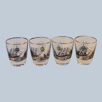 4 Vintage Libbey Treasure Island Barware Shot Glasses Mid Century