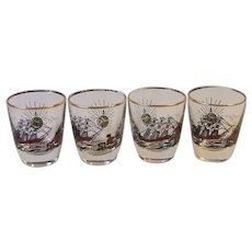 4 Vintage Libbey Treasure Island Barware Shot Glasses Mid Century