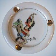 Vintage Trader Vic's Tiki Hawaii Polynesian Dancers Porcelain Ashtray