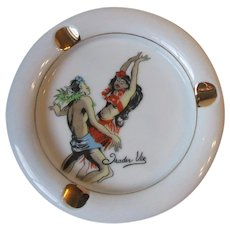 Vintage Trader Vic's Tiki Hawaii Polynesian Dancers Porcelain Ashtray