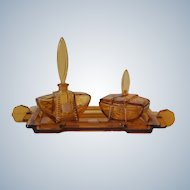 Vintage Embassy Ware Czech Amber Glass Art Deco Vanity Dresser Set