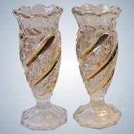 U.S. Glass 2 EAPG Band and Diamond Swirl 6 Inch Vases Clear Gold