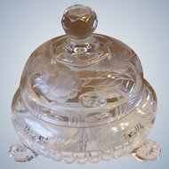Crystal Clear 3 Toed Dome Covered Candy Dish Gray Cut Glass Floral