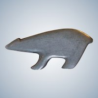 Vintage R Tennesmed Sweden Polar Bear Pewter Modernist Brooch